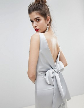 photo Satin Bow Back Maxi Dress by True Violet, color Silver - Image 3