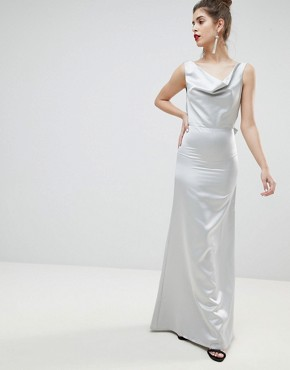 photo Satin Bow Back Maxi Dress by True Violet, color Silver - Image 4