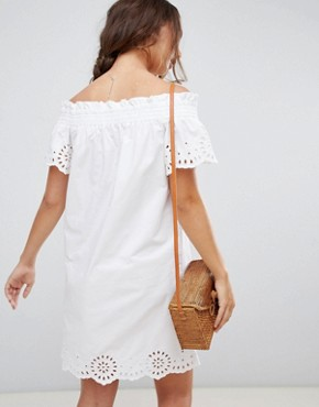 photo Broderie Anglais Ruched Dress by Warehouse, color White - Image 2