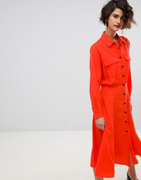 photo Pocket Detail Button Down Shirt Dress by Warehouse, color Red - Image 1