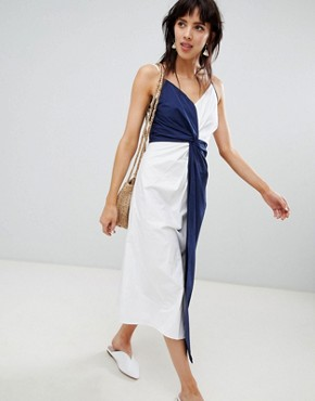 photo Midi Dress with Knot Detail in Navy and White by Warehouse, color White And Navy - Image 1