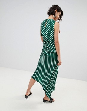 photo Asymmetric Hem Stripe Sleeveless Dress by Warehouse, color Green And White - Image 2