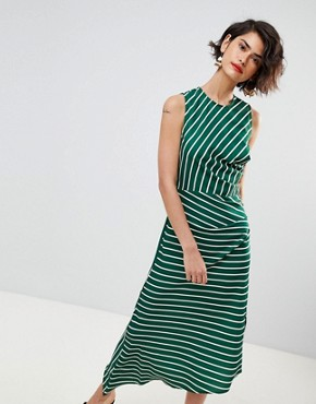 photo Asymmetric Hem Stripe Sleeveless Dress by Warehouse, color Green And White - Image 1
