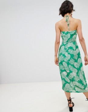 photo Pineapple Halter Dress by Warehouse, color Green - Image 2
