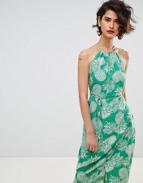 photo Pineapple Halter Dress by Warehouse, color Green - Image 1
