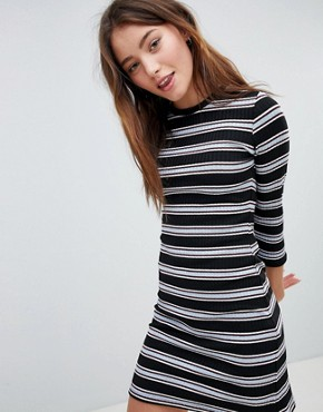 photo Ribbed Mini Dress in Stripe Print by Bershka, color Multi - Image 1