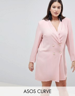 photo Tux Blazer Mini Dress with Pearl Buttons by ASOS CURVE ULTIMATE, color Blush - Image 1