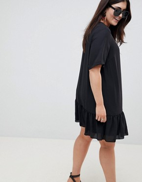 photo Ruffle Hem Mini T-Shirt Dress by ASOS DESIGN Curve, color Black - Image 2