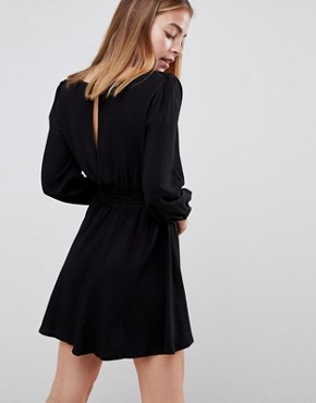 photo Square Neck Skater Mini Dress by ASOS DESIGN Petite, color Black - Image 2