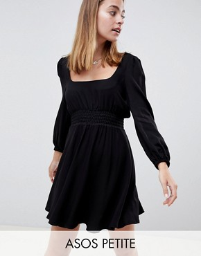 photo Square Neck Skater Mini Dress by ASOS DESIGN Petite, color Black - Image 1