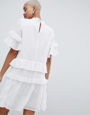 photo Ruffle Layer Smock Dress by Pieces, color Bright White - Image 2