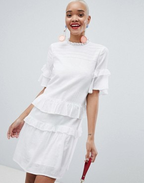 photo Ruffle Layer Smock Dress by Pieces, color Bright White - Image 1