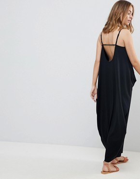 photo Tab Back Drape Hareem Maxi Dress by ASOS DESIGN Petite, color Black - Image 2