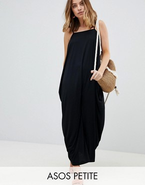 photo Tab Back Drape Hareem Maxi Dress by ASOS DESIGN Petite, color Black - Image 1