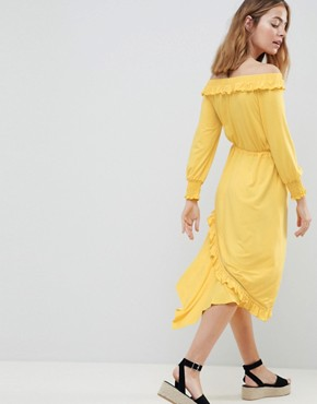 photo Off Shoulder Shirred Cuff Midi Tea Dress by ASOS DESIGN Petite, color Yellow - Image 2