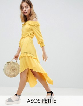 photo Off Shoulder Shirred Cuff Midi Tea Dress by ASOS DESIGN Petite, color Yellow - Image 1