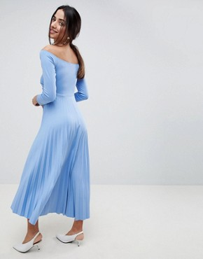 photo Scuba Bardot Pleated Midi Dress by ASOS DESIGN, color Blue - Image 2