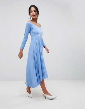 photo Scuba Bardot Pleated Midi Dress by ASOS DESIGN, color Blue - Image 1
