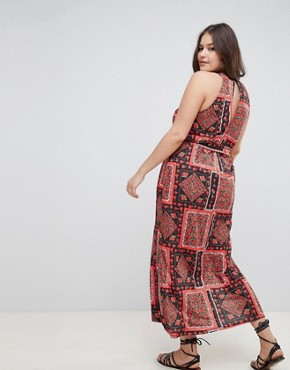 photo Scarf Print Maxi Sundress with Belt by ASOS DESIGN Curve, color Multi - Image 2