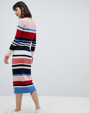 photo Stripe Column Midi Dress by Esprit, color Multi - Image 2