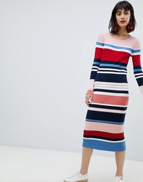 photo Stripe Column Midi Dress by Esprit, color Multi - Image 1