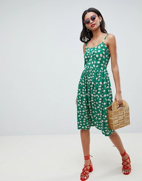 photo Pineapple Print Midi Sun Dress in Green by Esprit, color Green - Image 4