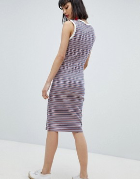 photo Stripe Sleeveless Jersey Dress by Esprit, color Orange/Navy Stripe - Image 2
