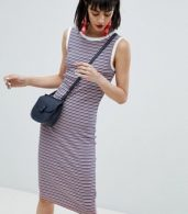 photo Stripe Sleeveless Jersey Dress by Esprit, color Orange/Navy Stripe - Image 1