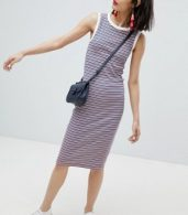 photo Stripe Sleeveless Jersey Dress by Esprit, color Orange/Navy Stripe - Image 4