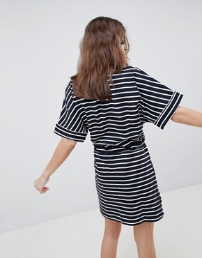 photo Drawstring Stripe T-Shirt Dress by Esprit, color Navy/White - Image 2