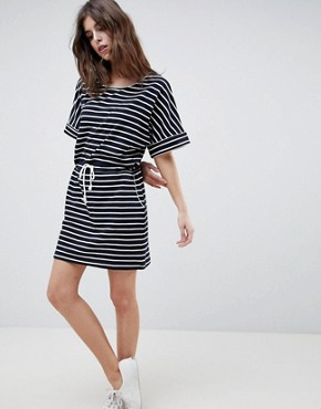photo Drawstring Stripe T-Shirt Dress by Esprit, color Navy/White - Image 1