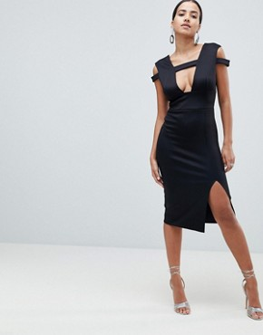 photo Strappy Cut Out Midi Dress by ASOS DESIGN, color Black - Image 1