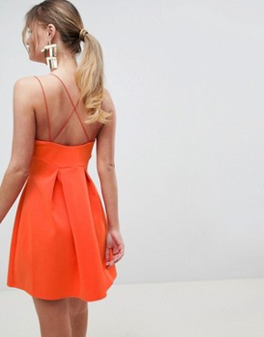 photo Strappy Skater Mini Dress by ASOS DESIGN, color Hot Orange - Image 2