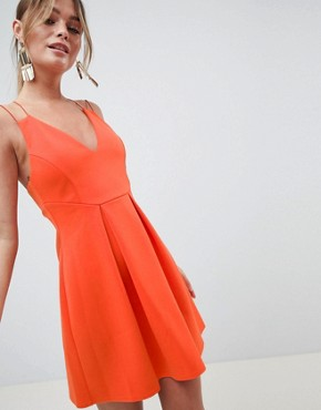 photo Strappy Skater Mini Dress by ASOS DESIGN, color Hot Orange - Image 1
