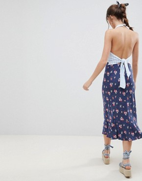 photo Halterneck Midi Sundress in Mixed Floral Gingham Print by ASOS DESIGN, color Multi - Image 2