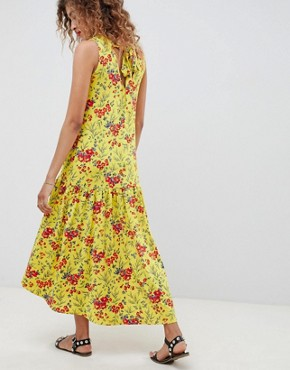 photo Maxi Tea Dress with Dropped Hem and Contrast Buttons in Floral Print by ASOS DESIGN, color Floral Print - Image 2
