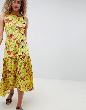 photo Maxi Tea Dress with Dropped Hem and Contrast Buttons in Floral Print by ASOS DESIGN, color Floral Print - Image 1