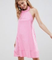 photo Halter Swing Sundress in Cut About Stripe by ASOS DESIGN, color Pink/White - Image 1