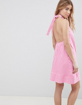 photo Halter Swing Sundress in Cut About Stripe by ASOS DESIGN, color Pink/White - Image 3