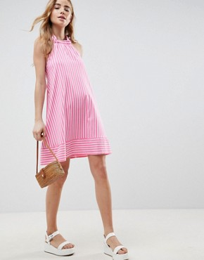 photo Halter Swing Sundress in Cut About Stripe by ASOS DESIGN, color Pink/White - Image 4