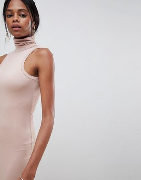 photo Soft Touch Bodycon Dress with Polo Neck by ASOS DESIGN, color Mink - Image 3