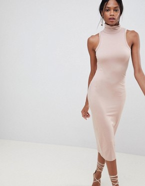 photo Soft Touch Bodycon Dress with Polo Neck by ASOS DESIGN, color Mink - Image 1