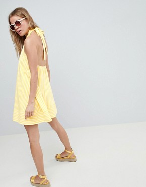 photo Halter Swing Sundress in Cut About Stripe by ASOS DESIGN, color Yellow/White - Image 2