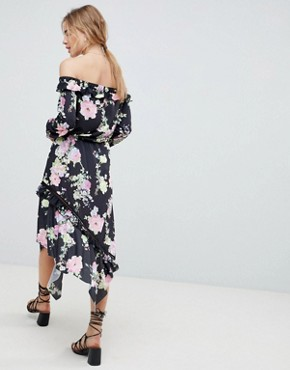 photo Off Shoulder Tea Dress with Shirred Cuffs in Floral Print by ASOS DESIGN, color Floral Print - Image 2