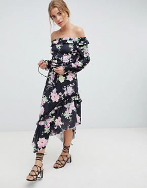 photo Off Shoulder Tea Dress with Shirred Cuffs in Floral Print by ASOS DESIGN, color Floral Print - Image 1