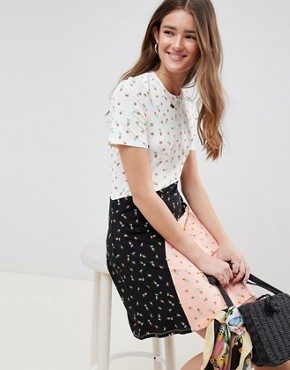 photo t-shirt Dress in Colour Block Ditsy Print by ASOS DESIGN, color Ditsy Print - Image 1