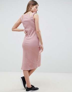 photo Rib Midi Dress with Double Strap Detail by ASOS DESIGN, color Mink - Image 2