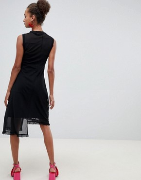 photo Embroidered Mesh Midi Dress by ASOS DESIGN, color Black - Image 2