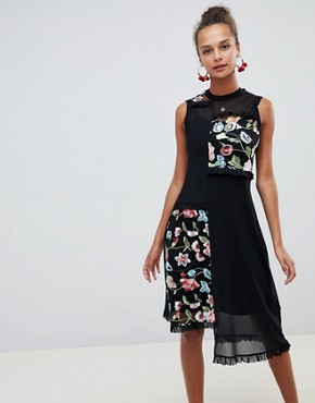 photo Embroidered Mesh Midi Dress by ASOS DESIGN, color Black - Image 1