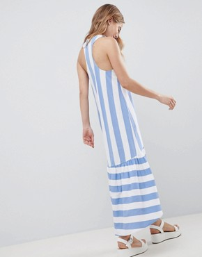 photo Maxi Dress with Racer Back and Hi Lo Pep Hem in Deckchair Stripe by ASOS DESIGN, color Deckchair Stripe - Image 2